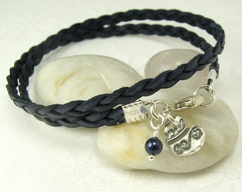 LEATHER WRAP BRACELET with handmade textured heart charm sterling silver leather bracelet