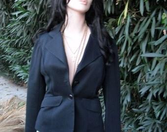 Vintage Jacket, 1970s Frank Lee of California, Black Jacket, Polyester, Sportswear/Suit Jacket, Medium or 9/10