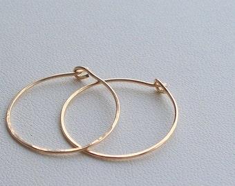 Earrings 14 Karat GF Hoop Minis - Simply Hoops - tiny size - Handmade - Hoop Earrings