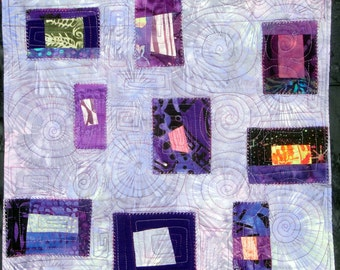 Purple Free Style  | Saturday Delight |  Modern  Art Quilt Wall Hanging
