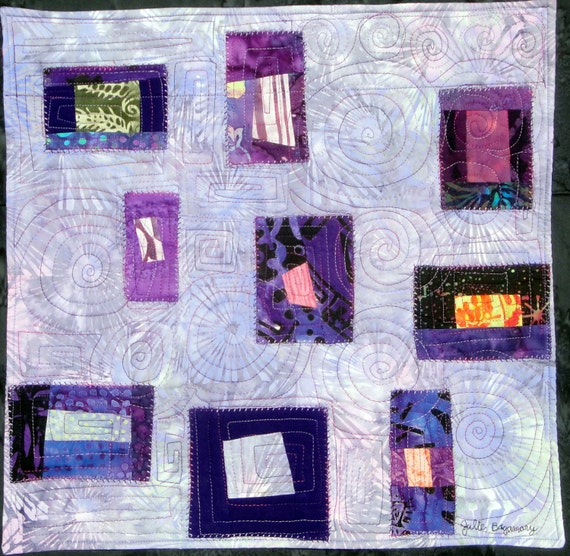 Purple Free Style Cobblestone Saturday Delight  Modern  Art Quilt Wall Hanging  Fall Decor