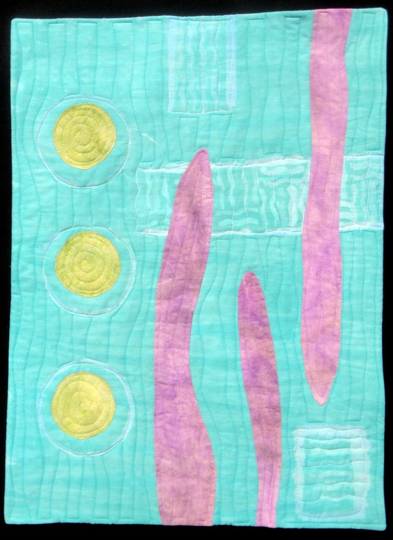 Quilted Wall  Art Hanging Hand Dyed Beach Art