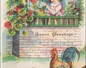 Easter postcard, vintage postcard, Happy Easter Greetings, Girl Watching Chicks Hatch from Easter Eggs w/ Rooster & Hen vintage postcard