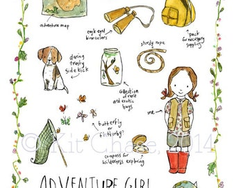 Children's Art - Adventure Girl -- Archival Art Print