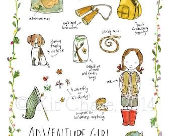Children's Art - Adventure Girl -- Archival Art Print