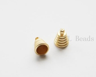 6pcs Matte 16K Gold Plated Brass Base Findings - Cap - Cone - 11x8mm (457C-S-276)