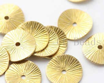40pcs Raw Brass Waved Disc - Spacer  11mm (1692C-T-42)
