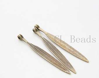 6 Pieces Antique Brass Base Metal Charms-Long Leaf 56x6mm (10522Y-D-11B)