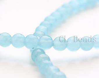 One Strand (15 Inches) Aqua Jade Stone - Round 6mm( BS100)