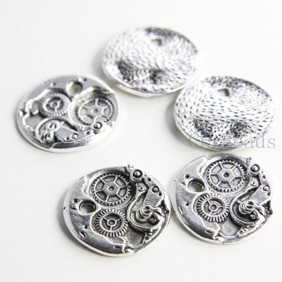 6pcs Oxidized Silver Base Metal Charms-Watch 25x25mm (13886Y-H-329)