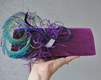 Bridal Aubergine Satin Pleated Evening Clutch Adorned With Feathers And Rhinestone
