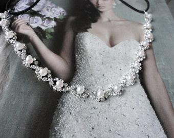 Vintage Inspired Wedding Bridal Rhinestone And Small Pearls Headband