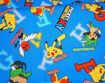 pokemon fabric pikachu 19.6 inch by 42 inch or 50 cm by 106  cm Half meter