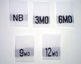 Mixed Baby Size Tags - NB, 3mo, 6mo, 9mo, and 12mo Woven Clothing Tags (Package of 50)