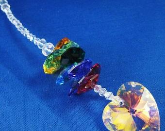 Swarovski Crystal Heart Rainbow Suncatcher/Car Jewelry