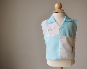 1960s Embroidered Tin Soldier Shirt, Size 9 Months