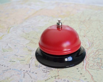 Call Bell Painted Bell Red Bell Desk Bell Ringer Home Decor Office Decor Counter Bell