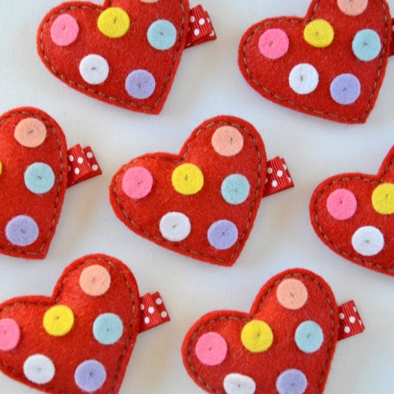 HOLIDAY CLIP SALE - Red Heart with Spots Felt Hair Clip - polka dot heart hair clip - Super cute for Valentine's Day