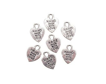 Hand Made with Love Silver or Gold Coloured Heart Charms x Pack of 20