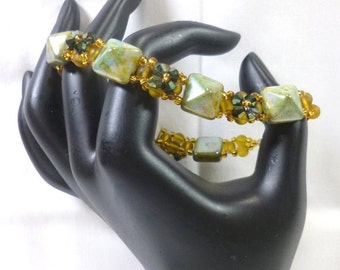 Pyramid Band Bracelet  -  Picasso Green Czech Beadstuds , Green AB crystals and amber matte beads