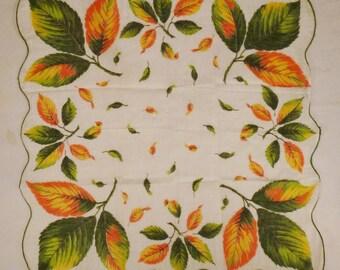 VTG HANKIE Fall Leaves Orange green  Handkerchief Large  16 x 16 fluted edges Mint condition