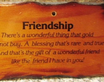 Vtge Kitschy Friendship Wood Wall Plaque Hanging