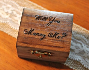 Proposal Box - Will You Marry Me? -wedding ring box - engagement ring box - wedding gift - jewelry box - wooden ring box