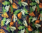 Army Tank Orange & Brown Cotton Twill Doodles  camouflage