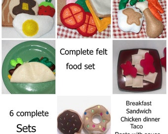Complete Play felt food includes 6 complete sets of food #PF2505COMBO