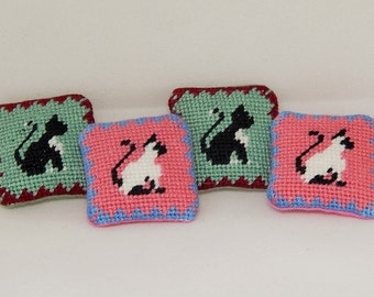 Dollhouse Miniature Hand Cross Stitched Kitty Pillows - Four