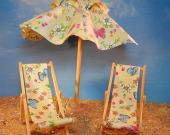 Dollhouse Miniature Handmade Lounging Chairs and Umbrella in Yellow Floral and butterfly Fabric Original Pattern