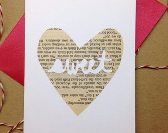 "Cut-out ""Sweet"" Heart Card, Hand-cut Cards on Vintage Paper, Valentine's Day Cards, Sweet, Paper Hearts"