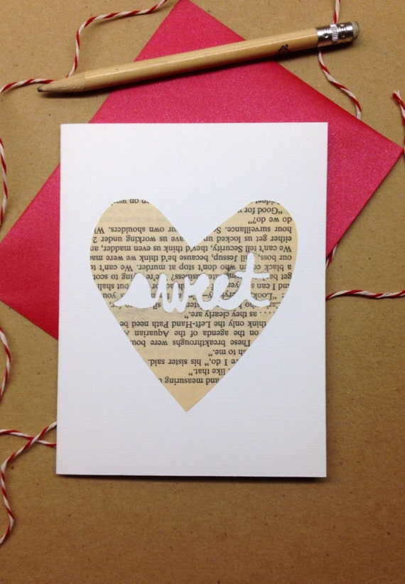 """Cut-out """"Sweet"""" Heart Card, Hand-cut Cards on Vintage Paper, Valentine's Day Cards, Sweet, Paper Hearts"""