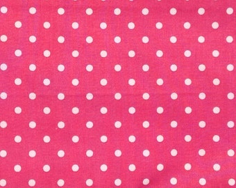 Hot Pink with White Polka Dots Extra Wide Cotton Fabric- 1 Yard