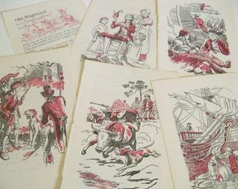 Storybook Illustrations - Old Whirlwind - Davy Crockett - Vintage Children's Story Book Prints - Elizabeth Coatsworth - Manning Lee - 1953