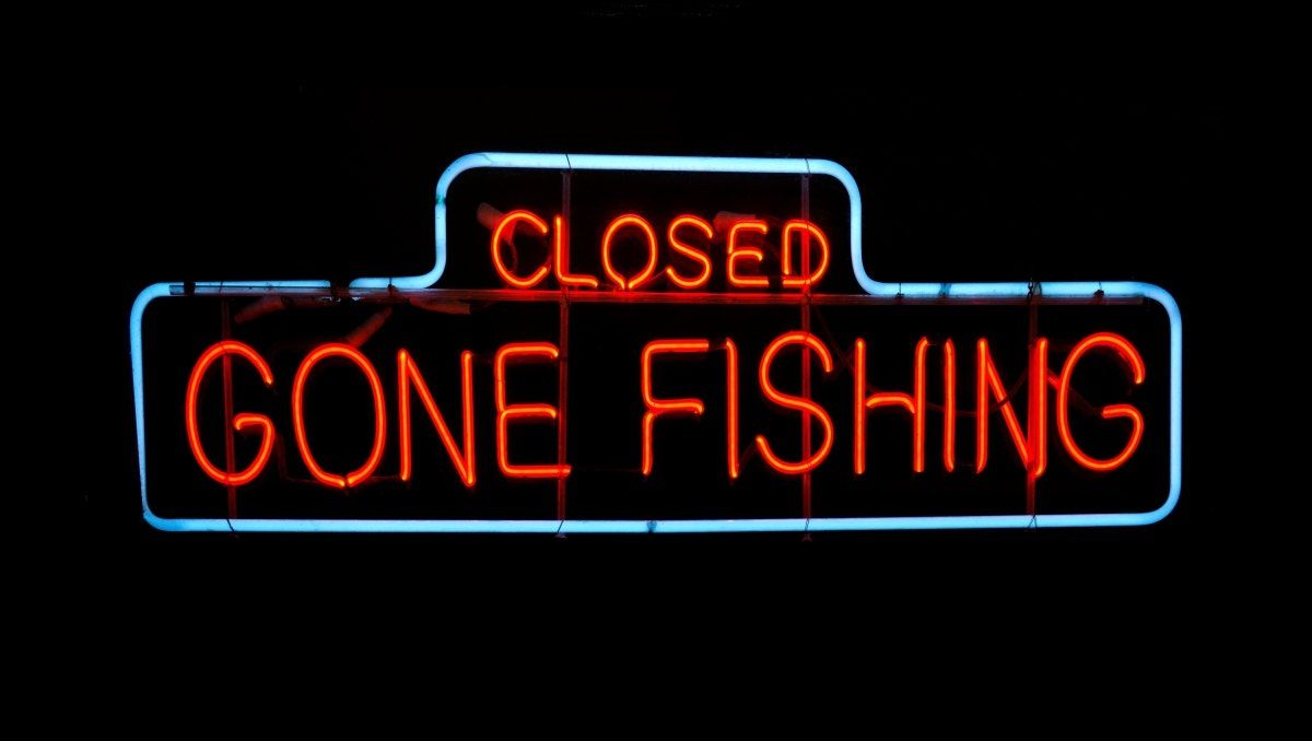Gone fishing neon sign 10x20 canvas new size for Fish neon sign