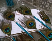 12 Peacock Feather Pen Favors with BLING in your choice of colors
