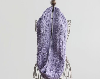 Infinity Scarf, Crochet Eternity Scarf. Extra Soft Pale Purple Cowl, Vegan Cowl, Ready to Ship