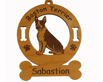 1922 Boston Terrier Sitting Personalized Wood Ornament