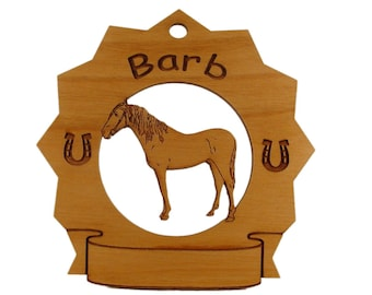 8063 Barb Horse Personalized Wood Ornament