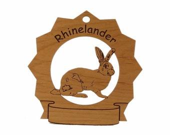 Rhinelander Rabbit  Personalized Wood Ornament