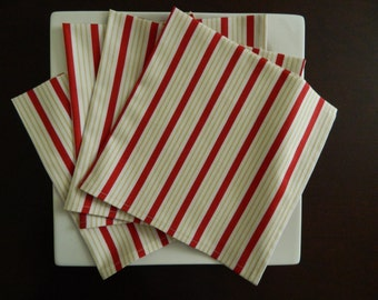 Contemporary Dinner Napkins. Set of 4. Red and Yellow Stripes on White. Year 'Round Every Day Napkins. Great Hostess Gift.