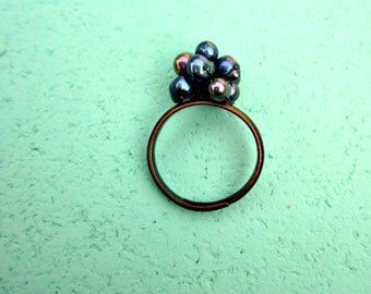 Peacock Blue Wired Pearl Adjustable Ring: Suds