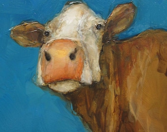 SKY HIGH COW  - Giclee print from my original oil painting -  Art