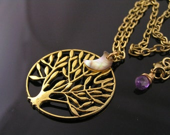 Golden Tree Necklace with Crescent Moon Shell Charm and Amethyst, Moon over Tree Necklace, Large Tree and Moon Pendant