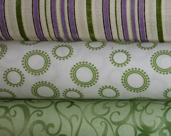 Green Geometric Prints 6 yds Cotton Fabric Collection-FREE US SHIPPING!