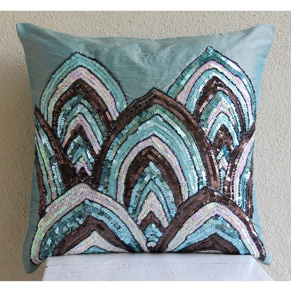 Decorative Pillows 26 X 26 : Decorative Throw Pillow Covers 26x26 Blue Silk Embroidered