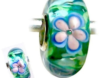 MERZIEs sterling silver murano lampwork glass European charm chain spacer bead - floral flower blue green pink white