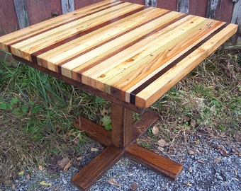 butcher block kitchen table with reclaimed wood pedestal base