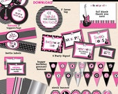 Little Rockstar Girl Birthday Party - DIY/Printable Complete Party Pack - INSTANT DOWNLOAD!